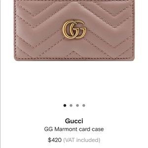 Gucci marmont disty pink card holder